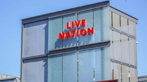 A Live Nation (LYV) sign on a corporate building in Los Angeles, California.