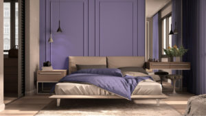Minimal classic bedroom in purple tones with walk-in closet, double bed with duvet and pillows, side tables with lamps, carpet. Parquet and stucco walls, luxury interior design idea, 3d illustration