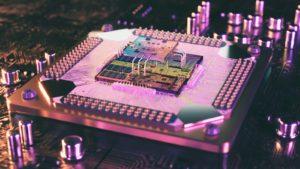 A 3D rendering of a quantum computing processor.