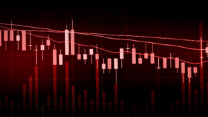 Stock Image of a Red Graph with downward movement
