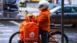 TKAYY - Just Eat Takeaway.com delivery person on a bike