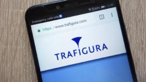 Image of Trafigura logo on smartphone display