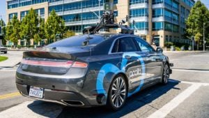 An Apollo self-driving car from Baidu (BIDU) drives around California.