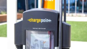 A ChargePoint electricity port in a parking lot in Irvine, California.
