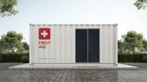 A 3D rendering of a mobile, container-based medical clinic.