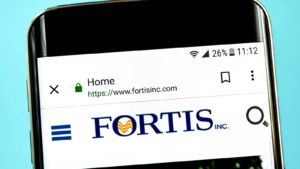 The Fortis (FTS) website is displayed on a smartphone screen.