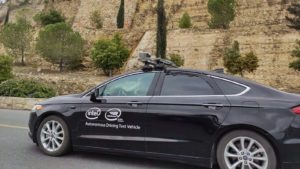 A vehicle from Intel (INTC) and subsidiary Mobileye driving in Jerusalem.