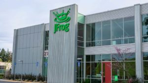 The JFrog logo on a company office in Silicon Valley, California.