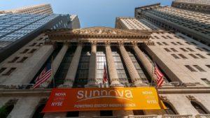 A banner for Sunnova Energy International (NOVA) hangs on the New York Stock Exchange.