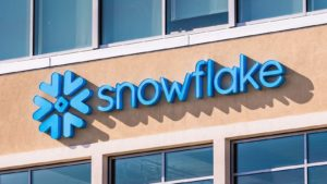 The Snowflake logo on a company office in Silicon Valley, California.