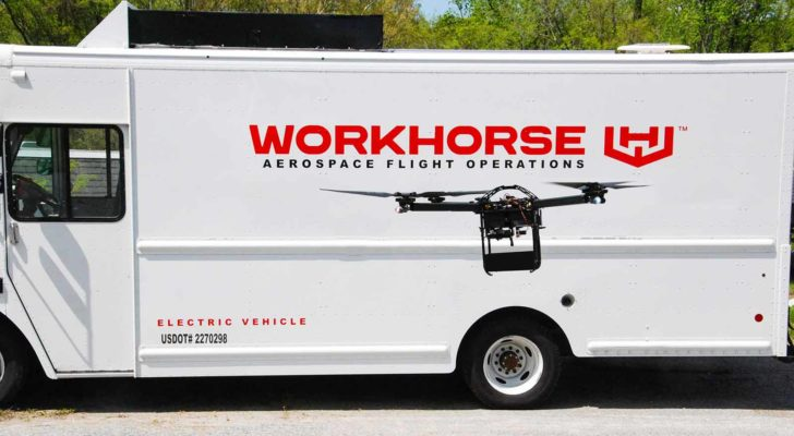 Image of a Workhorse (WKHS) logo and drone on the side of a truck.