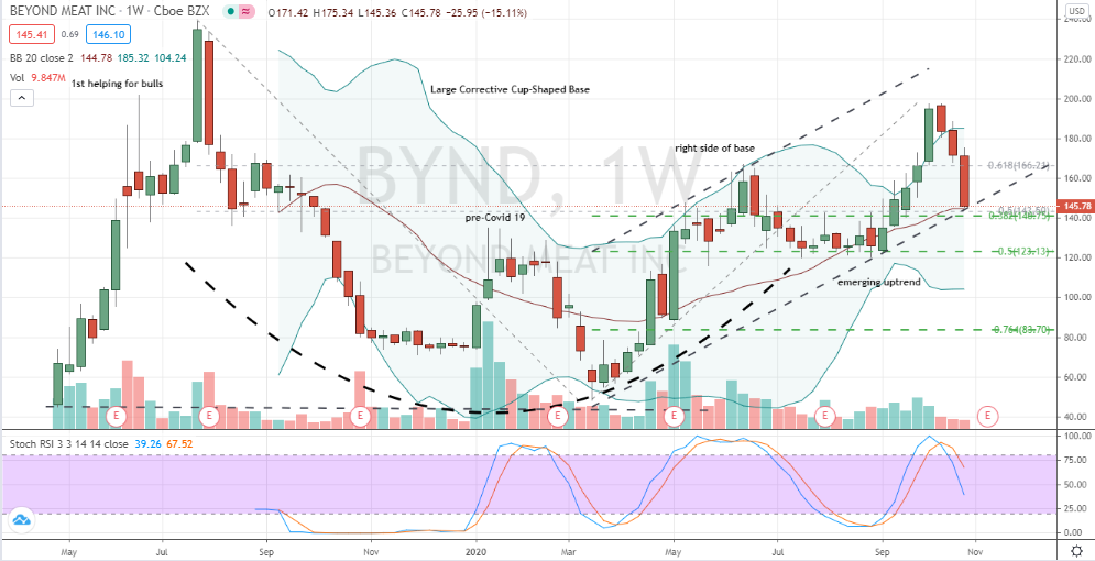 Beyond Meat (BYND) testing uptrend backed by 50% level of cup and 38% retracement