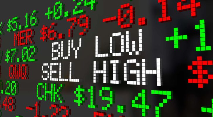 "A stock market ticker tape that reads ""BUY LOW SELL HIGH."""