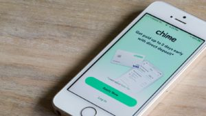 The Chime mobile payments app is displayed on a smartphone screen.