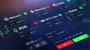 Cryptocurrencies stocks command center displaying bitcoin, ethereum, ripple, EOS, BTC cash and stellar.