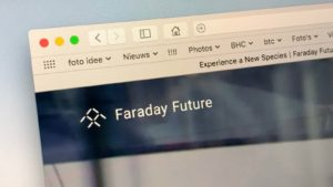 A close-up shot of the website for EV maker Faraday Future.