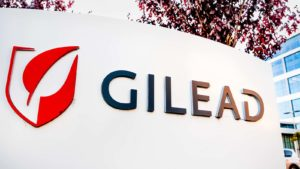 A Gilead Sciences (GILD) sign at the company headquarters in Silicon Valley, California.