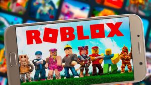 An illustration of the Roblox game is displayed on a smartphone screen.