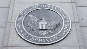An emblem at the U.S. Securities and Exchange Commission in Washington, DC.