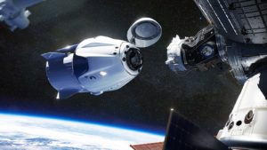 A SpaceX spacecraft docking at the International Space Station.
