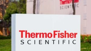 A Thermo Fisher Scientific (TMO) sign out front of an office in Silicon Valley, California.