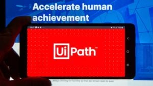 The UiPath app is displayed on a smartphone screen.