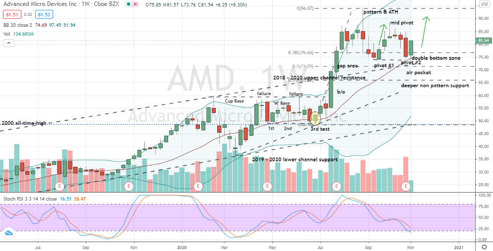 Advanced Micro Devices (AMD) weekly double bottom base forming