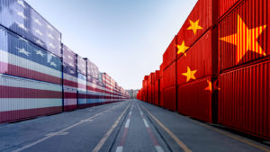 Image of U.S. flag and China flag on cargo containers