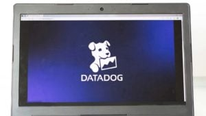 The Datadog (DDOG) logo displayed on a laptop screen. growth stocks