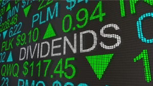 "stock market ticker screen with the word ""dividends"" appearing in large text"