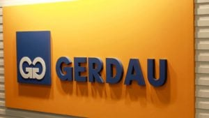 A close-up shot of the Gerdau (GGB) office sign in Sao Paolo, Brazil.