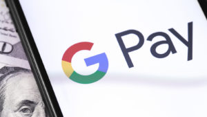 Closeup of Google Pay on a smartphone.