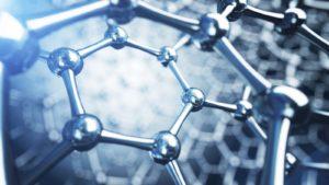 A digital illustration of 3D graphene molecules.