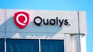 A Qualys (QLYS) sign hanging on a corporate office in Silicon Valley.