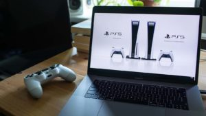 The new PlayStation 5 console from Sony (SNE) is displayed on a laptop screen.