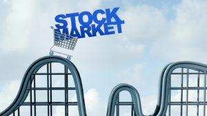 "a digital representation of a cart on a rollercoaster containing the words ""stock market"""
