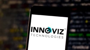 The Innoviz Technologies logo is displayed on a smartphone screen.