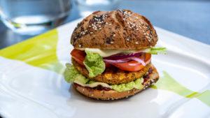 A photograph of a vegetarian burger.