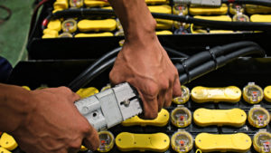 Image of a battery in an electric forklift.