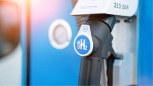 hydrogen logo on gas stations fuel dispenser. h2 combustion engine for emission free eco friendly transport.hydrogen logo on gas stations fuel dispenser. h2 combust
