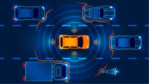 LiDAR sensors show car sensing traffic around it. LAZR