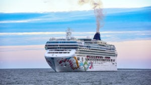 Norwegian Pearl, a Norwegian Cruise Line (NCLH) ship, in the middle of the ocean