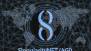 SingularityNet (AGI) cryptocurrency logo imposed over map of the world in blue and grays