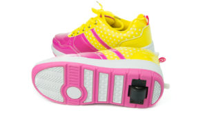 Image of pink and yellow Heely Shoes
