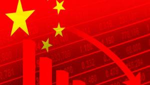 Falling Chinese stocks representing China Evergrande Collapse