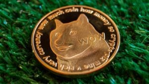 Une image d'un Dogecoin d'or (DOGE) sur un fond texturé vert.