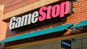 GameStop video game and electronics store logo sign in Bay Terrace, Queens, NY.