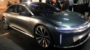 A photo of the Lucid Motors Air EV from 2018.