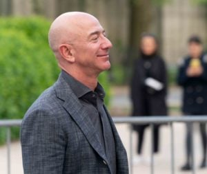 Jeff Bezos arrives at the Statue Of Liberty Museum Opening Celebration at Battery Park.