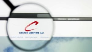 A magnifying glass zooms in on the website for Castor Maritime (CTRM).
